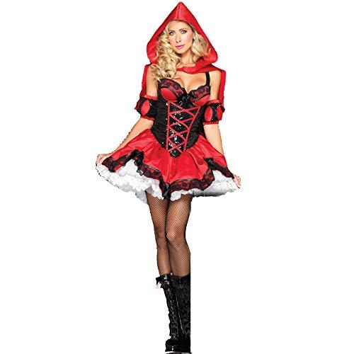 ZSJ~SW COS Frauen Internationaler Handel Wettbewerb Kostüm Bühnenkostüm Kostüm für Erwachsene für Europäer und Amerikaner Halloween Sexy Little Red Hat Kostüm (Color : Red, Size : Einheitsgröße)