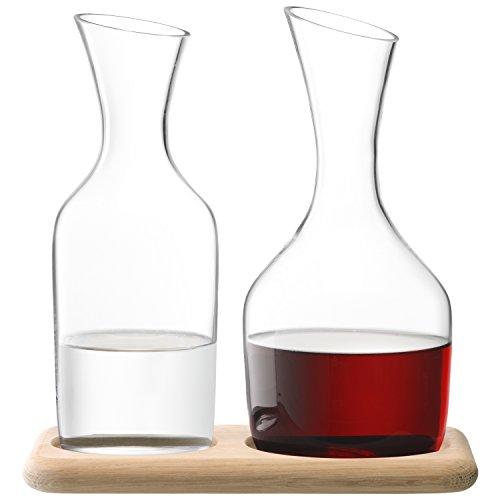 LSA Wine Wasser und Weinkaraffe Set und Sockel aus Eiche