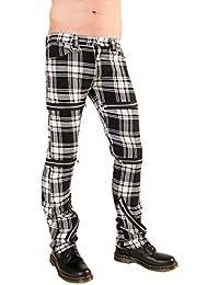 Black Pistol Destroy Pants Tartan Black-White