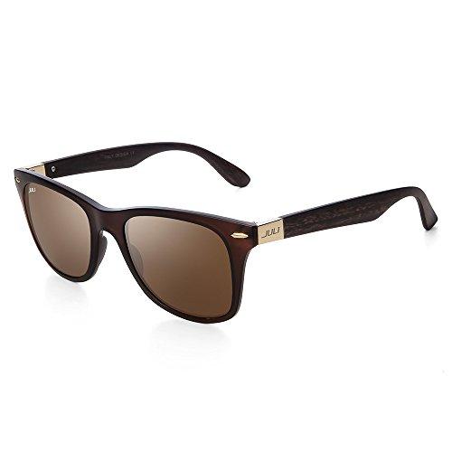JULI Mens Womens Mode Wayfarer Holz Bambus gedruckt wickeln Sie 54MM Sonnenbrille 4195WN