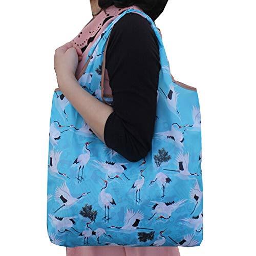 kt Lebensmittelgeschäft Einkaufstasche Schulter Nylon Falten tragbare leichte Wasserdichte Lagerung grünen Himmel Kran V ()