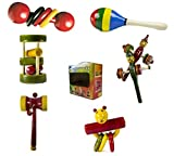 Set of 6 Colorful Wooden Baby Rattle Toy...