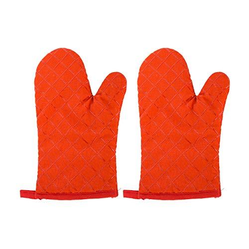 HUAXF 1 Paar hitzebeständige Silikon-Ofenhandschuhe, rutschfeste, Gesteppte Küchenhandschuhe aus Baumwolle, Handschuhe zum Kochen, Grillen, Backen, orange 29,5x13,5 cm