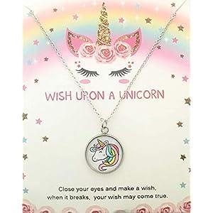 Einhorn Mädchen Hals-kette mit Anhänger Cabochon wish Wunscherfüller unicorn chain necklace Motiv 18mm silber Geburtstag Party Geschenk