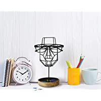 storeindya Handmade Metal Spectacle Eyeglass Holder Display Stand Quirky Wire Mesh Face Sculpture Stand Holder with Utility Storage for Him Her Office Home Décor Christmas Thanksgiving Gift (Black)