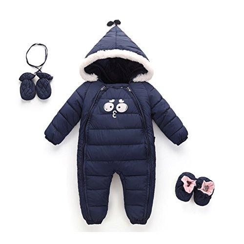 Hzjundasi Bambino Tute da neve infantile Neonato Felpa con cappuccio Piumino Un pezzo Inverno addensare Pagliaccetto Set 0-24 mesi jumpsuits 110cm