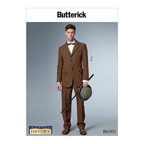 Butterick Patterns B6503MWW Herren Einreihiger Rückenausschnitt mit Belüftungsschlitzen und Bündchen, gefüttert, MWW - Mccalls Patterns Kostüm Historische