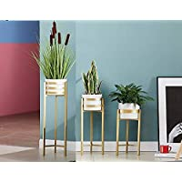 Crafter Metal Succulent Pot Holder With Stand, Gold, White, Large, Medium, Small, 3 Pieces