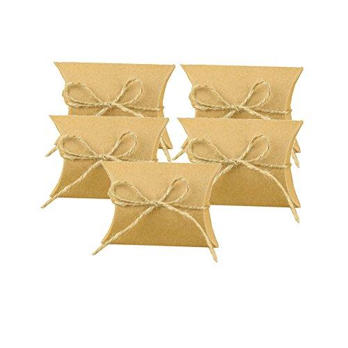 Hacoly 5 Bonboniere Box Rustikal DIY Kraftpapier Gastgeschenk Schachtel Hochzeit Geschenkbox Party Favors Box Babyparty Tischdeko Kasten für Süßigkeiten Konfetti Bonbons Schokolade - Hellkaffeefarbe (Hochzeit Diy Rustikale)