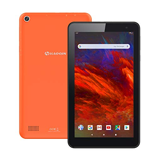 Android 9.0 Tablet PC 7 Zoll, HAOQIN H7 Quad Core CPU IPS HD Touch Display 16GB Speicher Dual Kamera WiFi Bluetooth FM Google Zertifiziert(Orange)