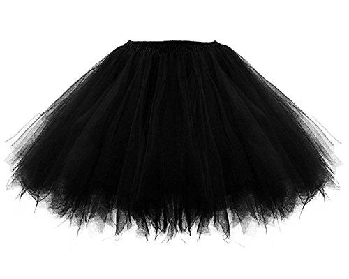 Facent Mädchen Kinder Kurz Tutu Rock Tüllrock Tütü Crinoline Minirock Reifrock Unterrock Kleid Tüll (Schwarz Tutu Mädchen)