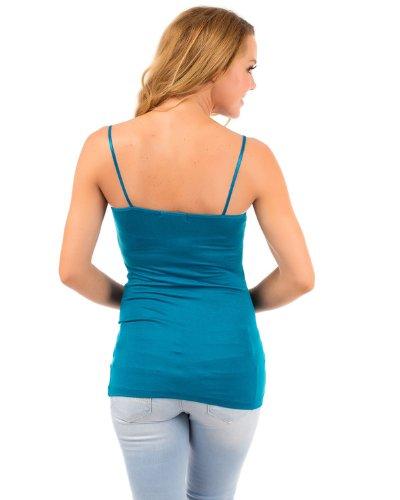 appareldeals Luftiges Sommer Basic Damen Top Shirt/in Vielen Versch. Farben und Größen Türkis