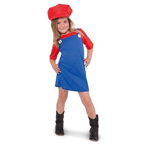 Klempner Kostüm Rote - Folat 63229 Super Mario Klempner Kostüm Mädchen Rot - Größe 134-152, Blau