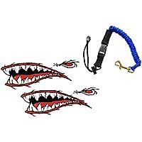 MagiDeal Correa de Remo Kayak Canoa con 2x Pegatinas de Vinilo Adhesivos de Forma Tiburón Diseño Fresco Flexible Duradero