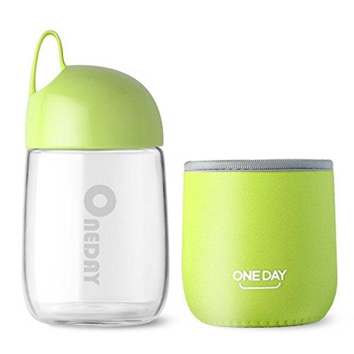 Oneday SB90014 niedliche Wasserflasche aus Glas in Eiform, 300 ml, aus umweltfreundlichem Borosilikatglas, mit rutschfester Hülle, 236G