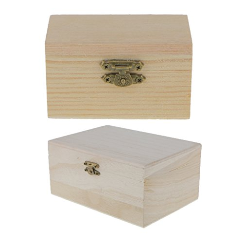 Sharplace 2 Stücke Kleine Unfinished Holzschmuck Fall Plain Wood Box Organizer Andenken DIY Handwerk - Box Holz Unfinished Handwerk