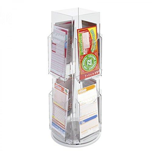 Avà srl Présentoir Jeux de tirage/bulletins de loterie tournant réalisé en Acrylique à 8 Compartiments - Dimensions : 26x 26 x H54 cm