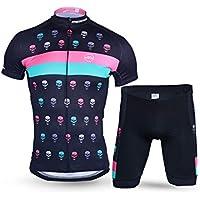 XDXDWEWERT Pantalones de Ciclismo Pantalones de Montar en BIC Conjunto de Ropa de Ciclismo para Hombres Camiseta de Manga Corta Transpirable de Secado rápido Jersey + 3D Shorts Evil Spirits XL