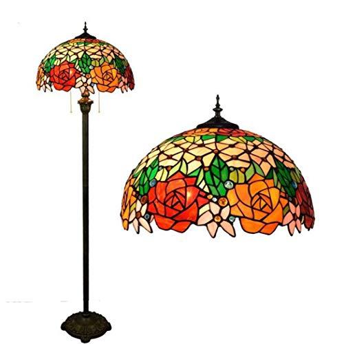 Tiffany-Stil Stehlampe, Handgemachte 16-Zoll-Glasmalerei Stehlampen, Wohnzimmer Esszimmer Schlafzimmer Rose Design Stehleuchten, E27, Max 2 * 40W, BOSS LV