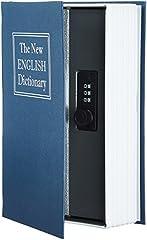 Idea Regalo - AmazonBasics - Cassetta portavalori a forma di libro, Serratura con combinazione, Blu