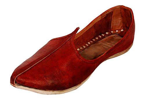 vision art Men's Brown Leather Mojaris - 9 UK