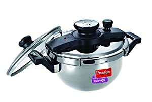 Prestige Clip On Stainless Steel Kadai Pressure Cooker with Glass Lid Accessory, 2-Pieces, Metallic, 3.5 L