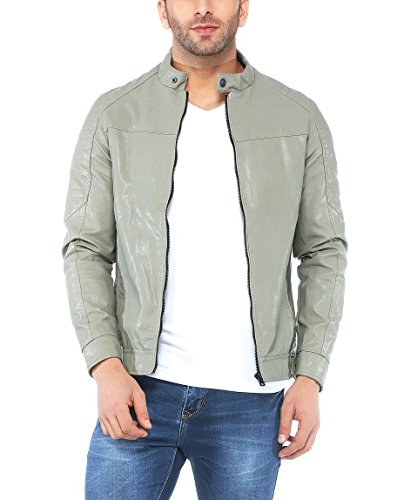 Tinted Men's Faux Leather Jacket (TJ5309-GREY-M, Black, Medium)