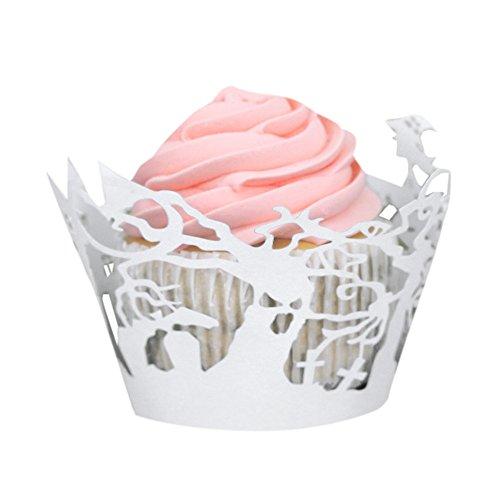 50so-buts Halloween Kürbis Spitze Laser Cut Cupcake Wrapper rutschsicher Backförmchen Muffin weiß