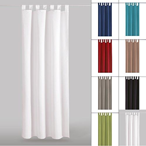 Dekoschal Gardine blickdicht Schlaufenschal Microsatin, Auswahl: weiß - perlweiß 140x145cm (Licht Blauer Seide Vorhänge)