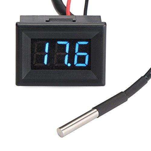 Digital-Thermometer Elektronische Temperaturüberwachung -55-125 ℃ Grüne LED-Anzeige mit DS18B20 Wasserdichtes Temperaturfühler 3 m langes Sensorkabel für Kühlschrank / Lab / Wand / Pool / Baby-Bad-Wasser / Körpertemperatur / innen & außen Nutzung
