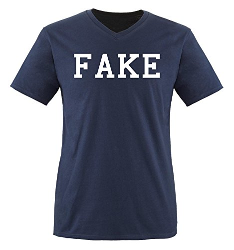 Besten Bart Fake (Comedy Shirts - FAKE - Herren V-Neck T-Shirt - Navy / Weiss Gr.)