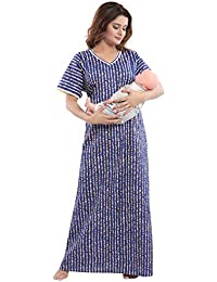 TUCUTE Womens Cotton Fabric Floral Print Feeding with Invisible  Zip Maternity Pregnancy Nighty a1644e4f0