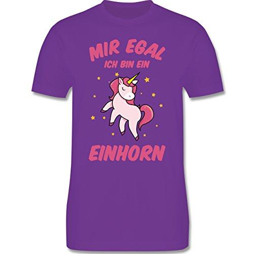 Shirtracer Einhörner - Mir Egal Ich Bin ein Einhorn - Herren T-Shirt Rundhals Lila