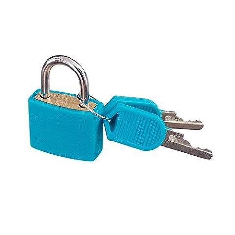 Petit Cadenas Plastique Fluo avec Deux Clés Pour Bagages Valise Sac Lumineux - Bleu