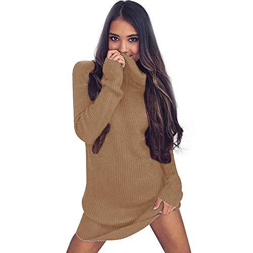 Susenstone Robe Pull Femme Tricot Chandail, Femmes DéContractéE Pull Pas Cher A La Mode à Manches Longues Col Roulé Chandails Blouse De Manteau Hiver Chaud (XL, Kaki)
