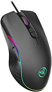 TOROTON Gaming Mouse Wired, 4 DPI (1000/1600/3200/6400) Optical Computer Mouse Wired with 7 Buttons RGB Marque