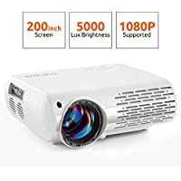 Crenova Video Projector, 5000 Lux Home Movie Projector(550 ANSI), 200'' Display HD LED Projector 1080P Supported, Work with Phone, PC, Mac, TV Stick, PS4, HDMI, USB for Home Theater[2019 Upgraded] - Grafik Tablet