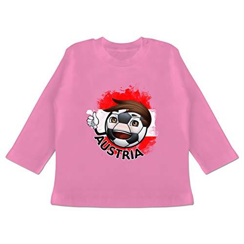 Sport Baby - Fußballjunge Österreich - 3-6 Monate - Pink - BZ11 - Baby T-Shirt Langarm