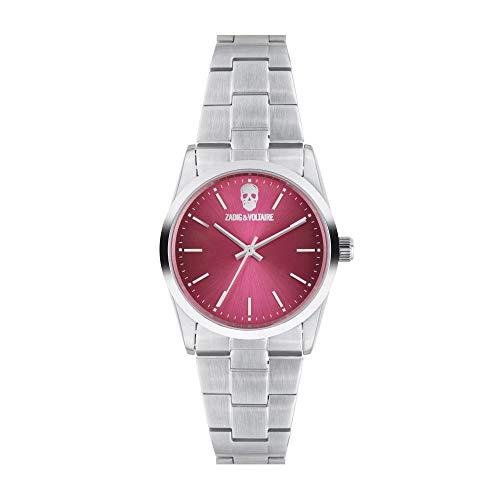 Orologio unisex Zadig & Voltaire al quarzo quadrante rosa 36mm e bracciale argento in acciaio zvf614