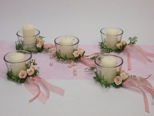 5 Kerze Votivglas Kerzenring Rosa Rosen Deko Kommunion Konfirmation Taufe Tischdeko
