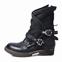Feytuo Boots for Women,Pleated Warm Punk Med Heels Cool Retro Belt Buckle Shoes Snow Leather Neutral Handsome Martin 2019 Autumn Winter