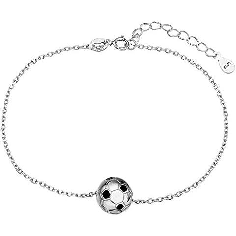 Cadena EleQueen 925 Balón de Plata de fútbol de la pulsera del encanto del grano rodio plateado, 7.2 Extender