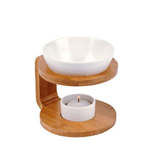 Pajoma - Brûle-parfum en bois avec coupelle en céramique - Marron/blanc