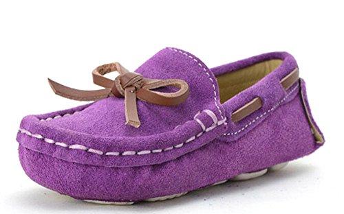 KISS GOLD (TM) Flexible Glissement d'enfant en Bas Agé Nubuck Mocassins Bateau Chaussures Violet