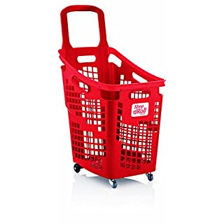 Araven Shop N Roll - X-Large 4 Wheel Plastic Shopping Trolley Basket (65L) Red