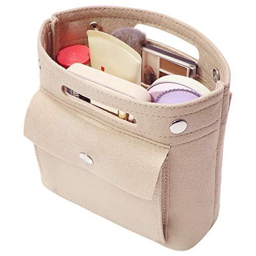 Soyizon Mini Organizer Filz Taschen Innentaschen Einkaufstasche Geldbörse Organisator einfügen für LV Speedy Neverfull NeoNoe Noe BB,Beige -