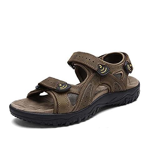 Onfly Sommer Herren Leder Beiläufig Sandalen Open-Toed Rutschfest Strandschuhe Hausschuhe Gehen Draussen Sandalen Wasser Schuhe Lässige Sneakers , light brown , 39