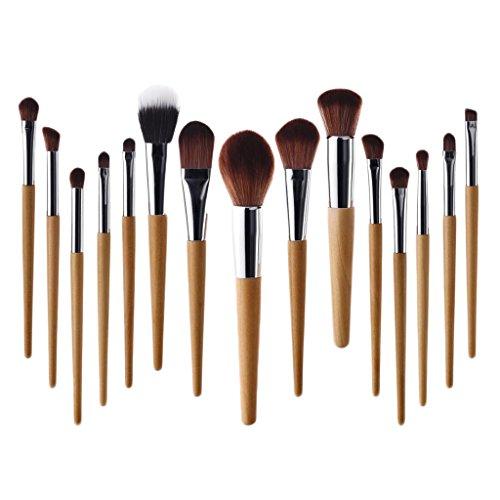 Sharplace Lot 15x Kabuki Pinceau de Maquillage Multi-fonction à Fond de Teint Blush Correcteur Brosse Cosmétique à Yeux, Nez, Lèvres Contour Peinture