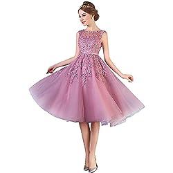 Damen Elegant Spitze Abschlussballkleid mit Perlen Homecoming kleid Knilang Altrosa 42