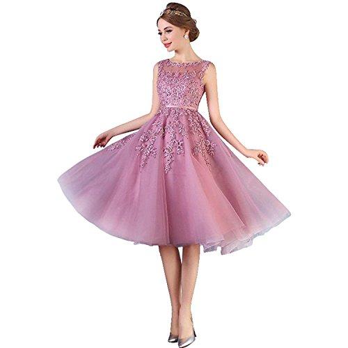 Damen Elegant Ämellos Spitze Abendkleid Hochzeitskleid Standesamt Tüll kleid Kurz Altrosa 34